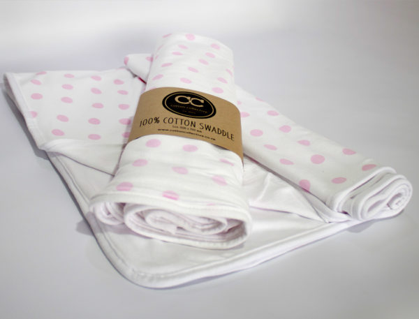 Swaddle-Blanket-Polka-Dot-Pink-Cotton-Collective